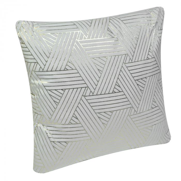 Pernă gri cu striații argintii 45x45 0