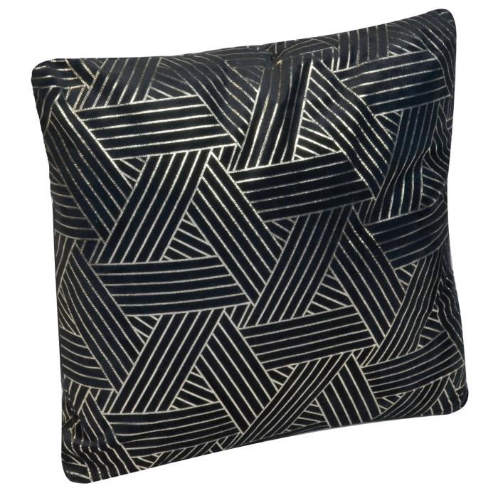 Pernă neagră cu striații argintii 45x45 0
