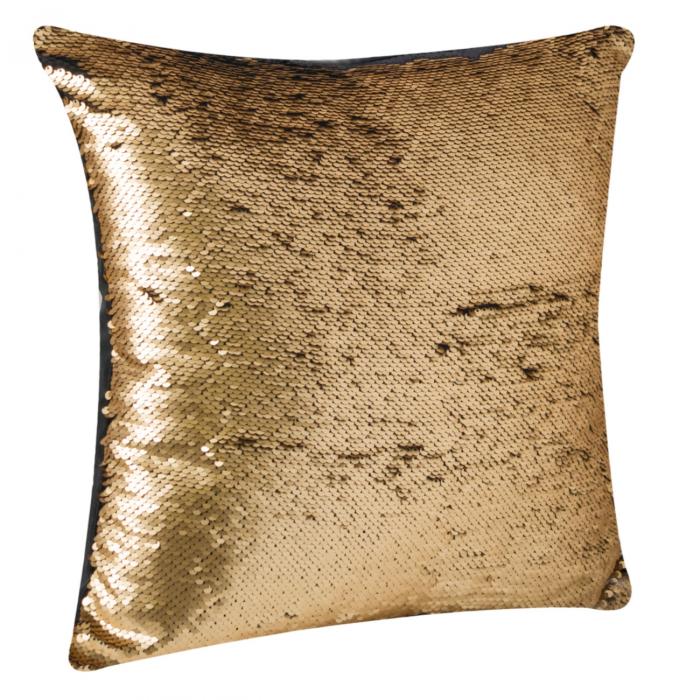 Pernă decorativă cu paiete negre-aurii 43x43 1