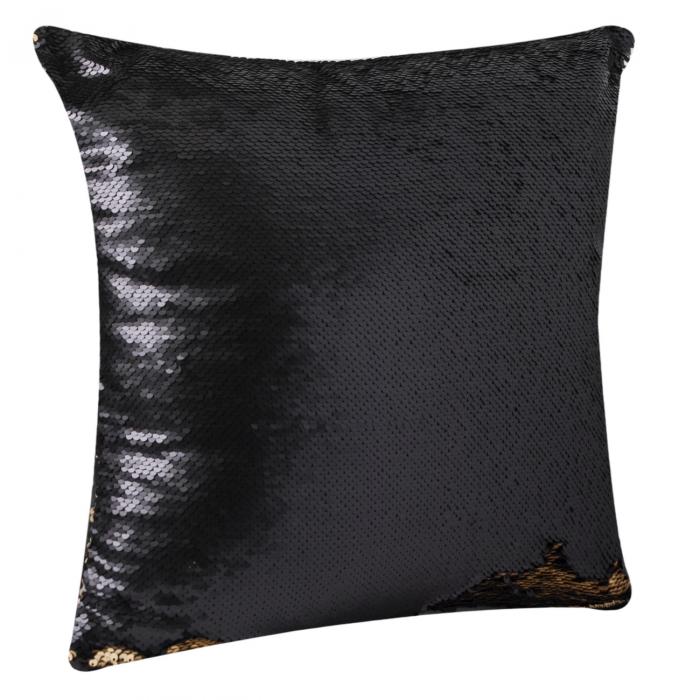Pernă decorativă cu paiete negre-aurii 43x43 2