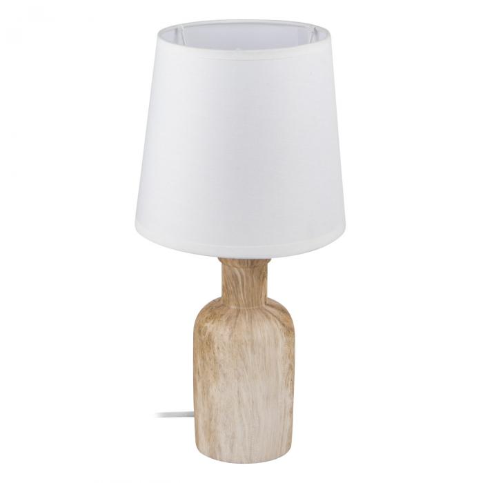 Lampă de masă din lemn cu pălărie albă [0]