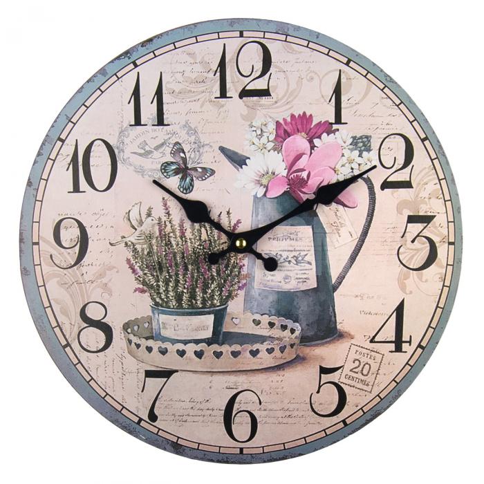 Ceas de perete rotund cu fundal floral 0