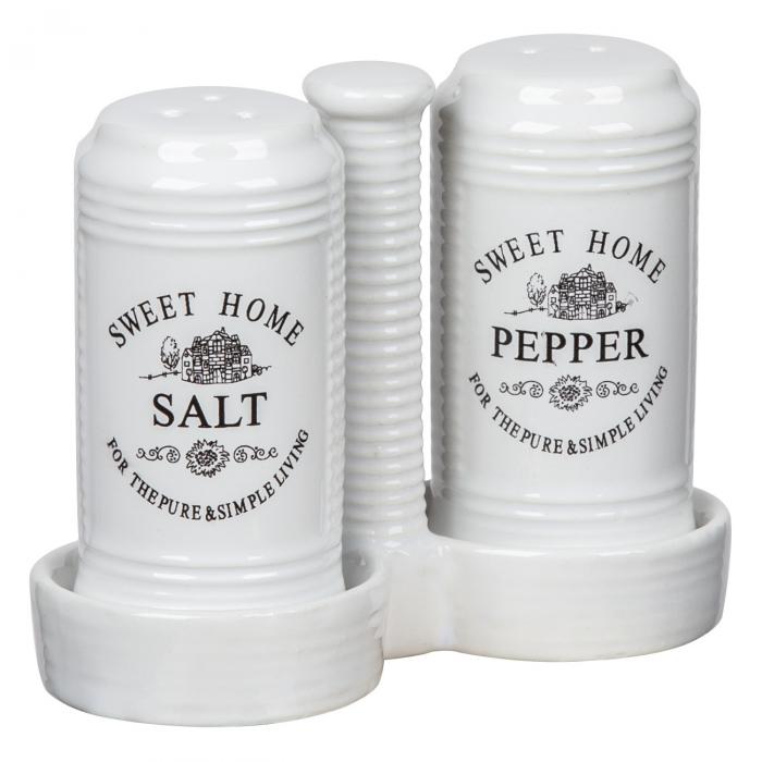 Set alb solniță sare/piper din ceramică 0