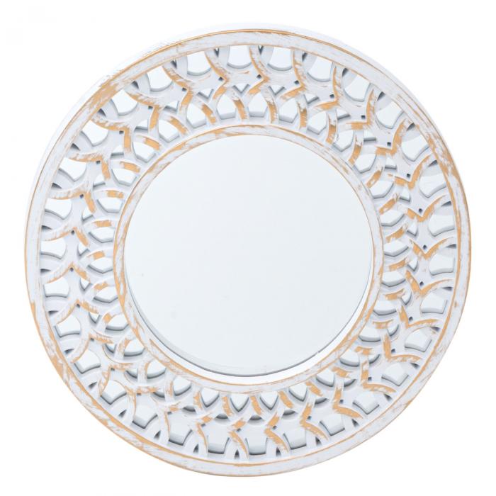 Set oglinzi de perete cu rama Alb-aurie - 3 buc. 1