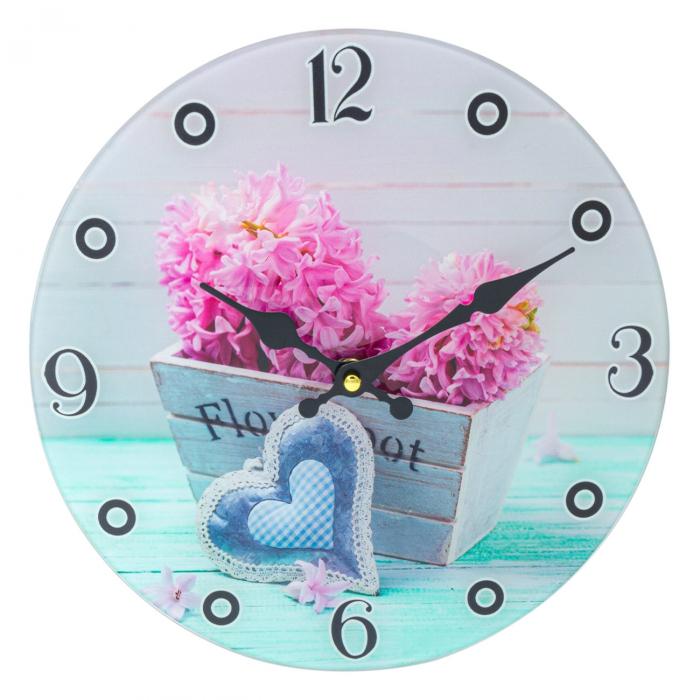 """Ceas de perete rotund """"Coș cu flori"""" 30 cm 0"""