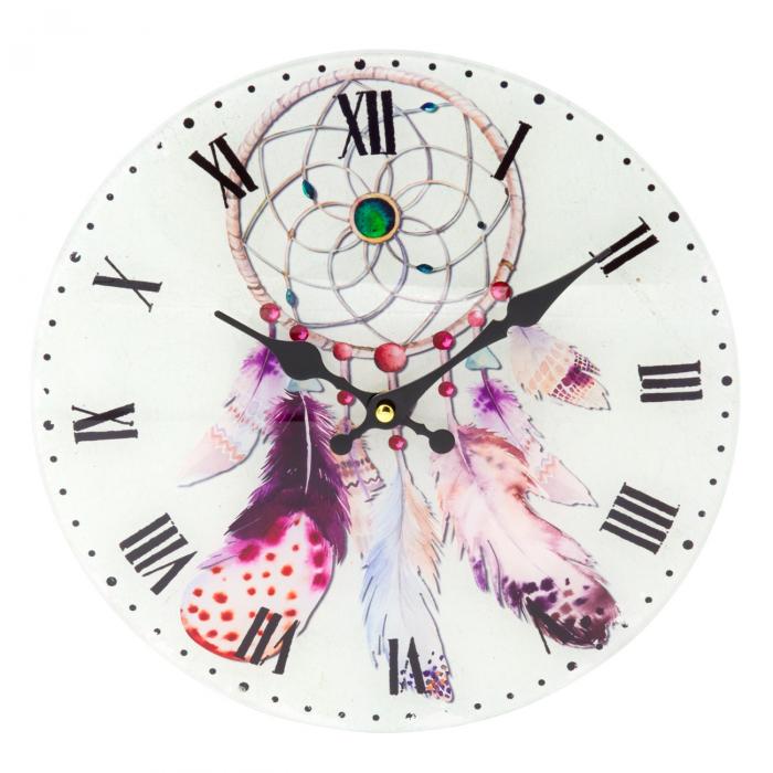 """Ceas de perete din sticlă """"Dreamcatcher"""" 30 cm 0"""