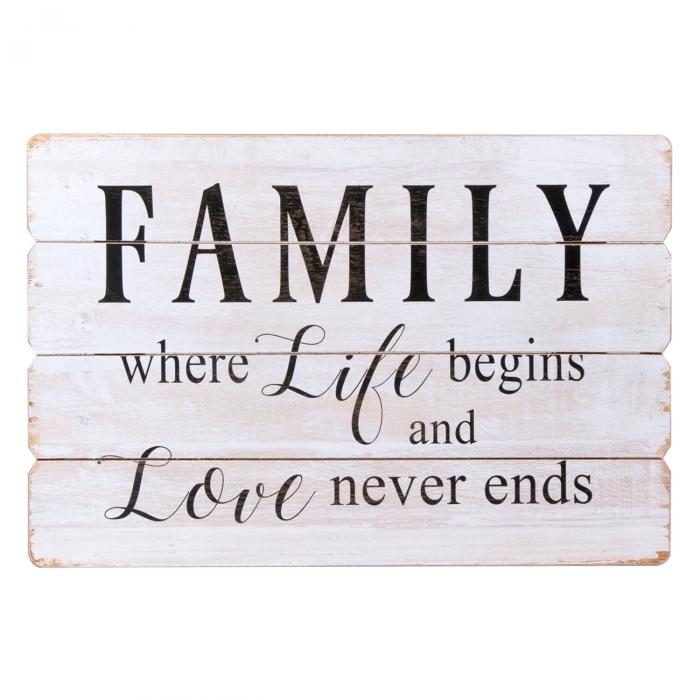 """Panou din lemn """"Family"""" cu mesaj 60x40 [0]"""