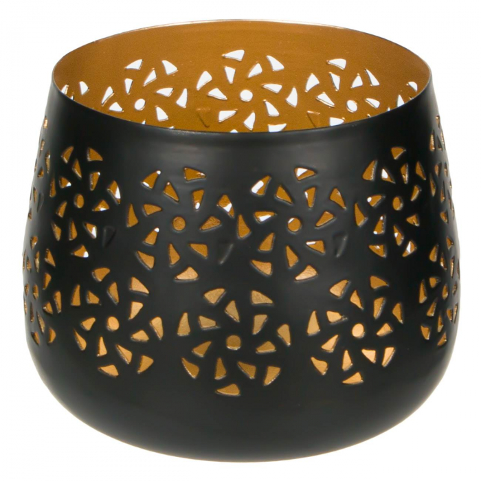 Suport metalic pentru lumânare negru-auriu 0