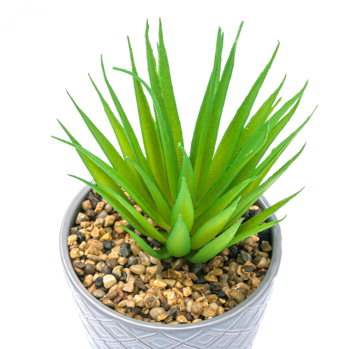 Ghiveci din ceramică gri cu plantă artificială 1