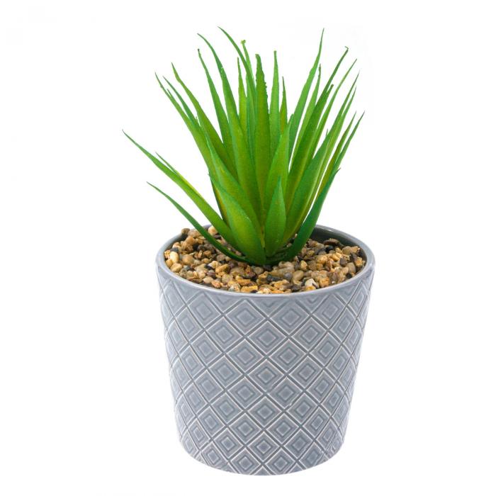 Ghiveci din ceramică gri cu plantă artificială 0