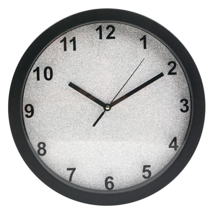 Ceas de perete rotund cu fundal argintiu cu sclipici  30 cm 1