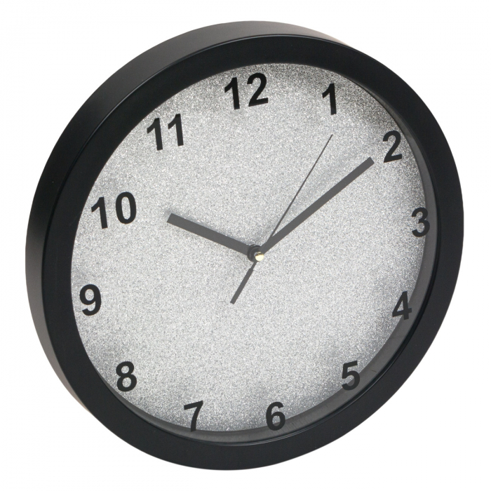 Ceas de perete rotund cu fundal argintiu cu sclipici  30 cm 0