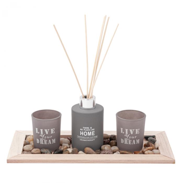 Set  lumânări pe suport din lemn 2