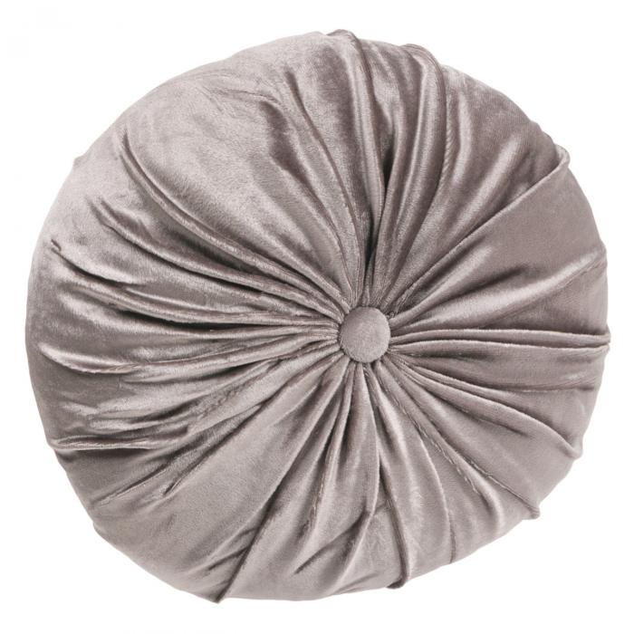 Pernă decorativă din catifea cu buton - gri argintiu 36 cm [0]