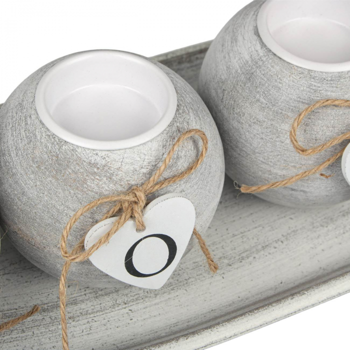 Set 4 suporturi lumânări din lemn 1