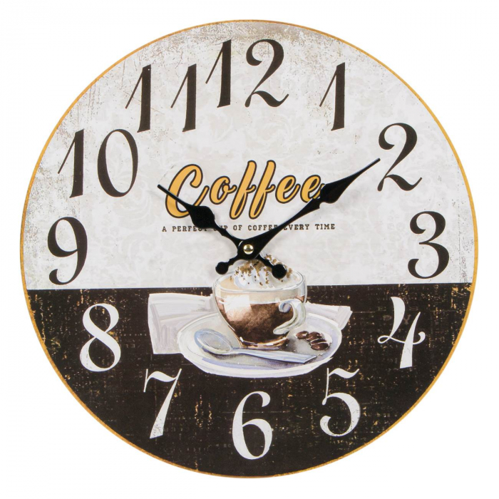 """Ceas de perete din lemn """"Coffee"""" 34 cm 0"""