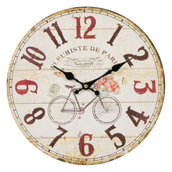"""Ceas de perete din lemn """"Paris"""" 34 cm 0"""