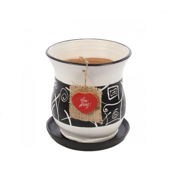Ghiveci ceramic Lena cu aplicație.17 x 19 cm. 0