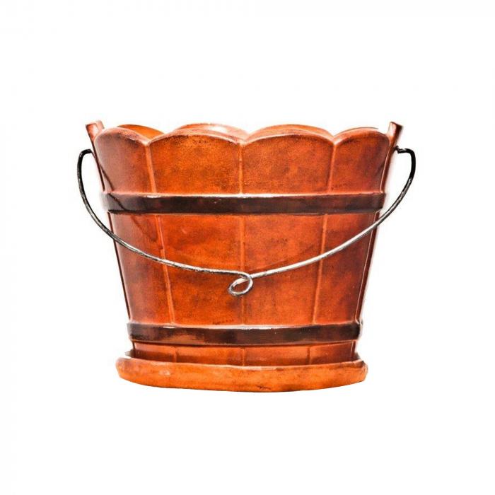 Ghiveci ceramică tip butoi de culoare maro.22 x 17 cm 0