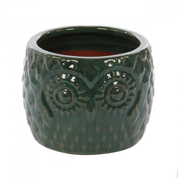 Ghiveci ceramic verde cu model.35 x 27 cm [0]