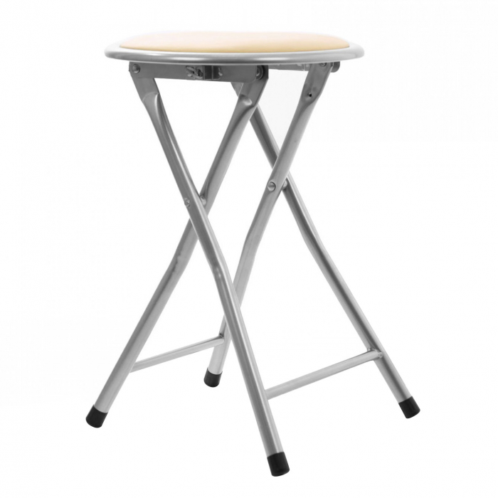 Taburet pliabil tip scaun din PVC crem. 1