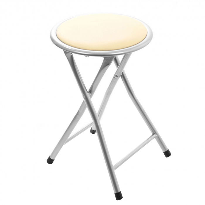 Taburet pliabil tip scaun din PVC crem. 0