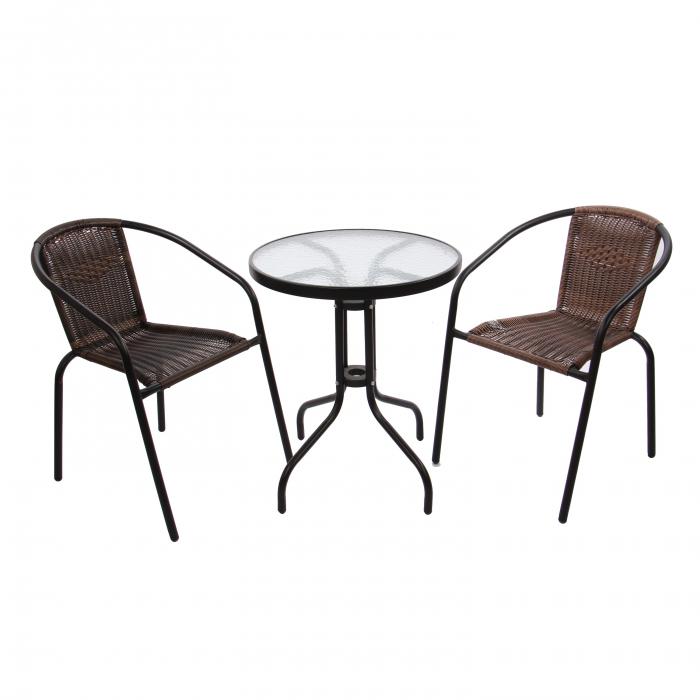 Set masă rotundă, cu 2 scaune pentru grădină 0