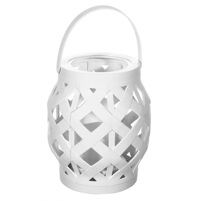 Lampă decorativă din Rattan,alb,cu iluminare LED,10.5x16 cm. 0