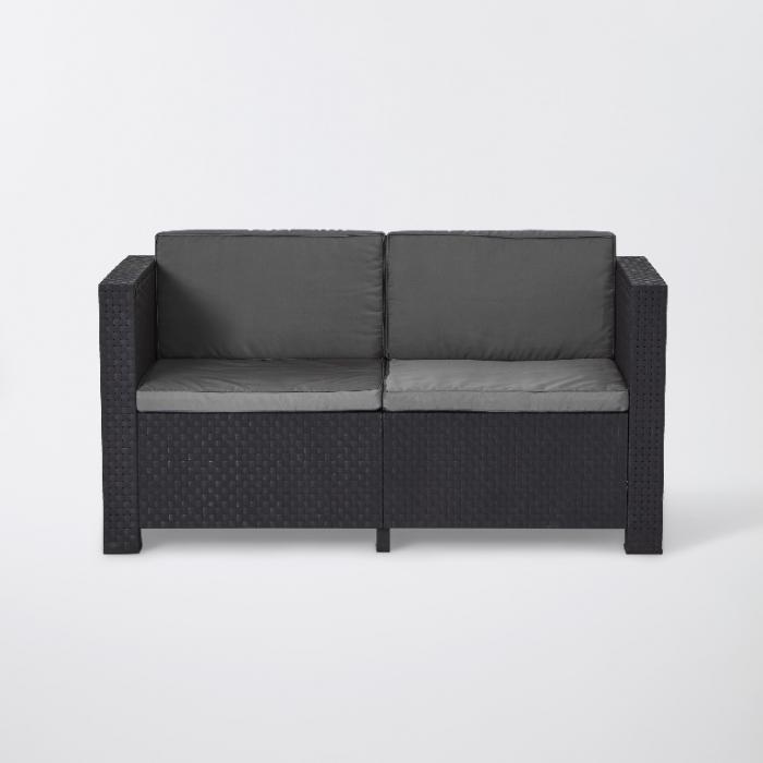 Set mobilier grădină, canapea + masă + 2 fotolii, culoare gri [1]