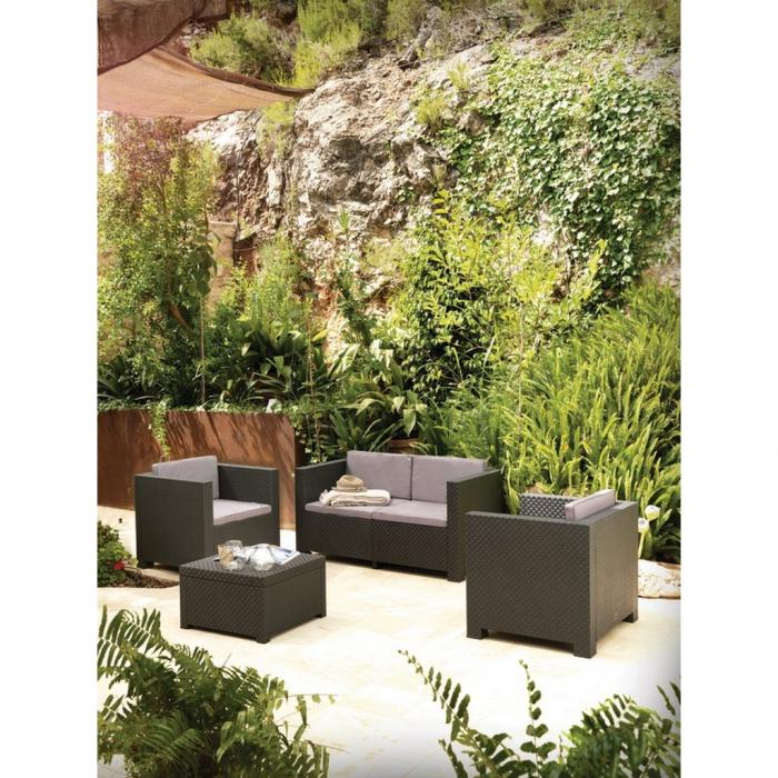 Set mobilier grădină, canapea + masă + 2 fotolii, culoare gri [3]