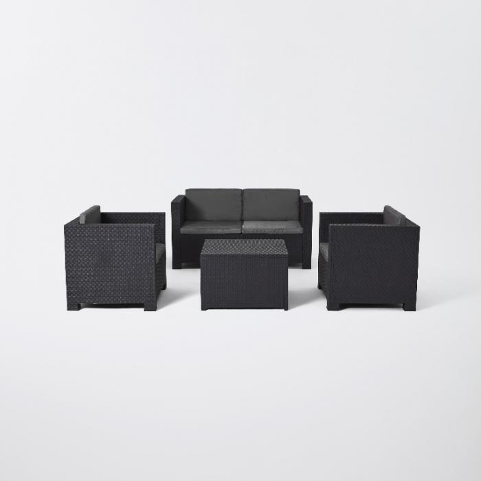 Set mobilier grădină, canapea + masă + 2 fotolii, culoare gri [0]