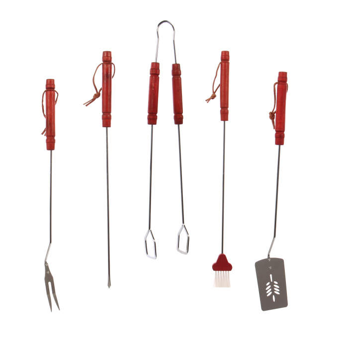 Accesorii pentru grătar din inox,cu mâner lemn, 50 cm, set 5 buc [1]