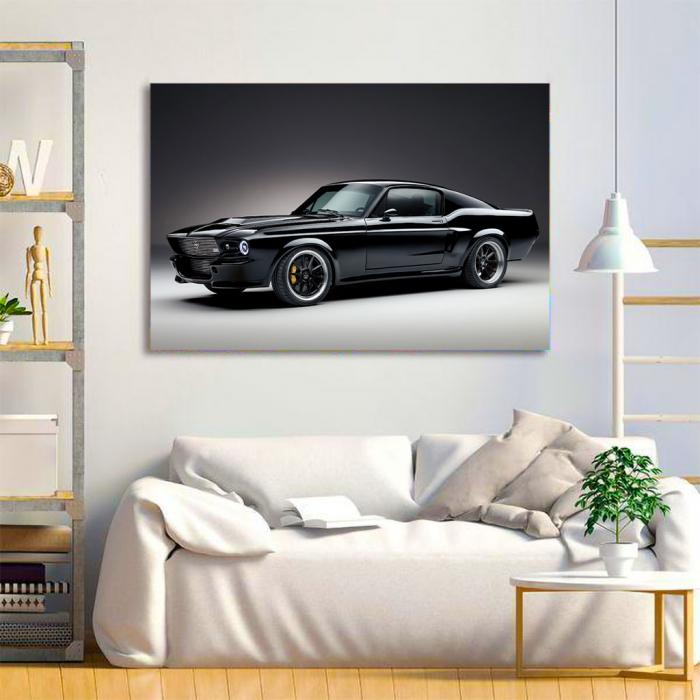Tablou Canvas - Mustang black 1