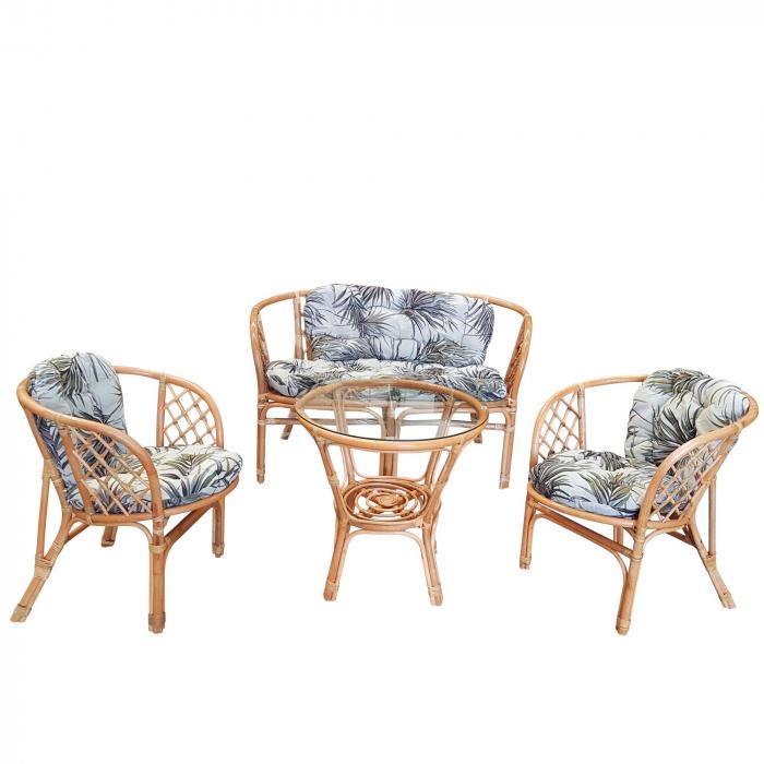 Set masă rotundă  Ranya cu 2 scaune + 1 canapea cu perne 0