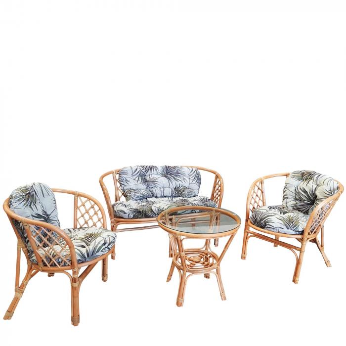 Set masă rotundă  Ranya cu 2 scaune + 1 canapea cu perne 1