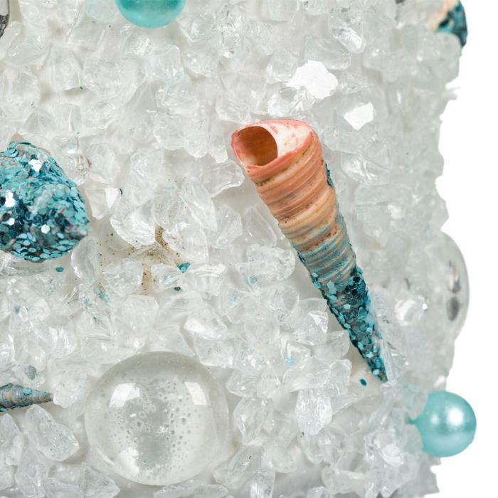 Borcan decorativ cu cristale si perle,turcoaz,8x11 cm [1]