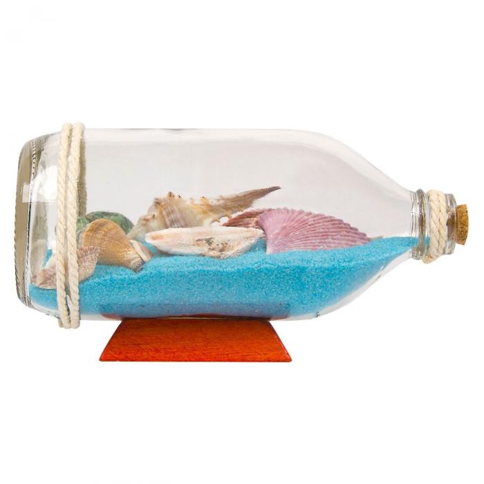 Sticlă decorativă cu nisip și scoici 19 cm [0]