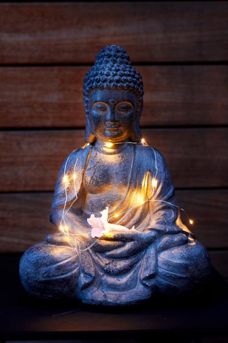 Statuie grădină buddha, 24x31x42 gri 1