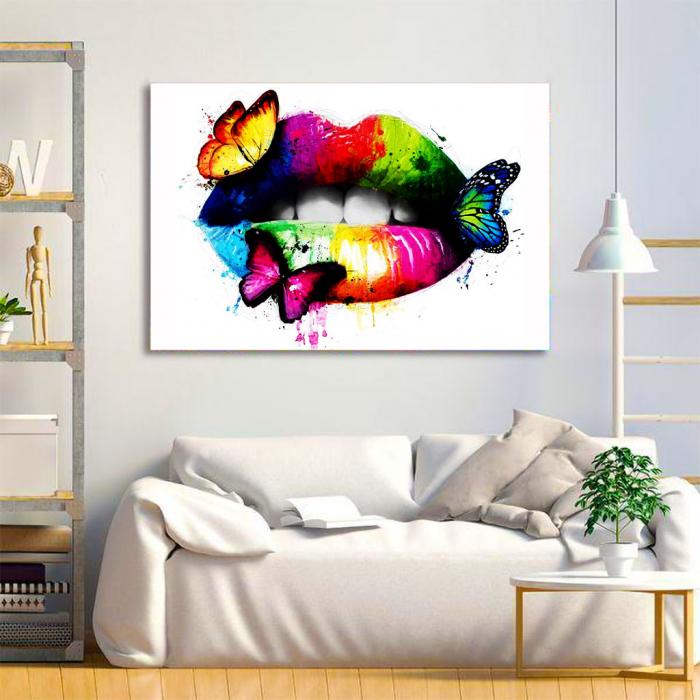 Tablou Canvas - Lips Multicolor 1
