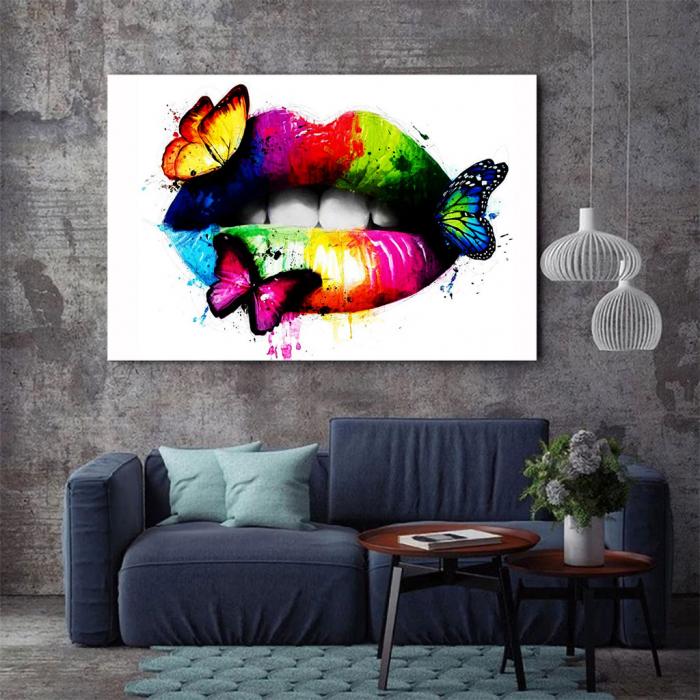 Tablou Canvas - Lips Multicolor 2