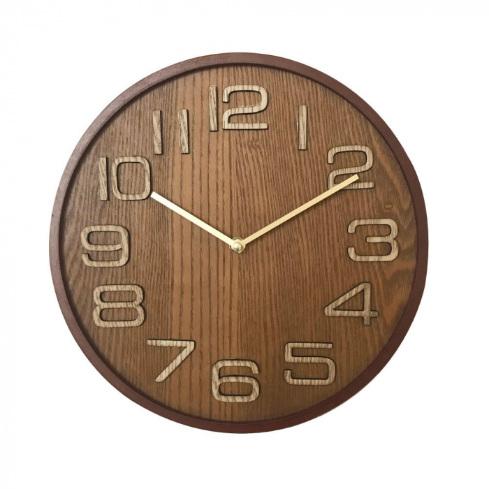 Ceas de perete, analog, rotund, din lemn - 32cm [0]