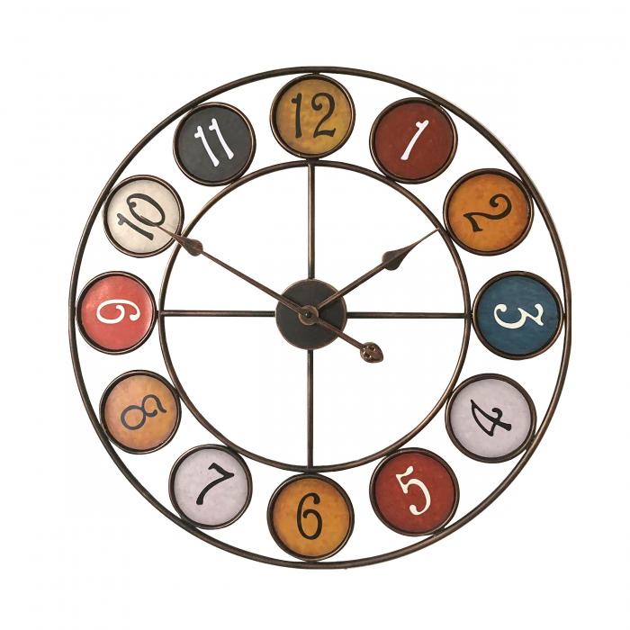 Ceas de perete,analog, rotund, din metal, diametru 60 cm 0