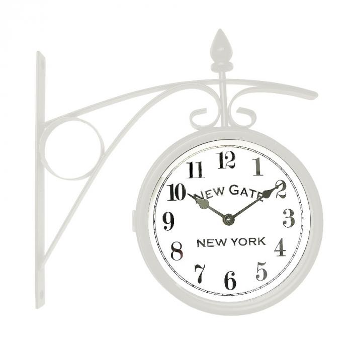 Ceas dublu de perete,analog, rotund, din metal, alb, 33.5 x 10 x 34.5 cm [0]