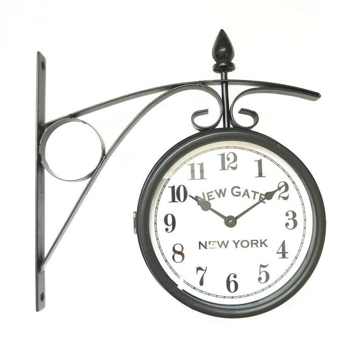 Ceas dublu de perete,analog, rotund, din metal, negru, 33.5 x 10 x 34.5 cm [0]