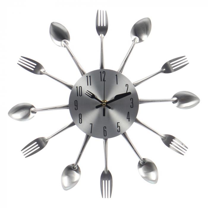Ceas perete, analog, rotund, din metal, diametru 36 cm [0]