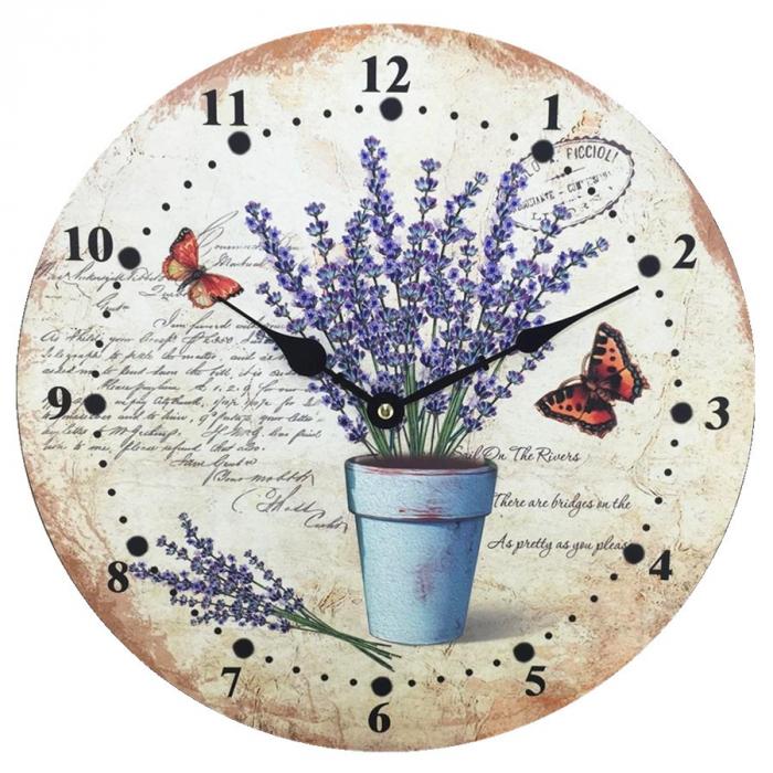 Ceas de perete,analog,rotund din MDF,28 x 4 x 28 cm [0]