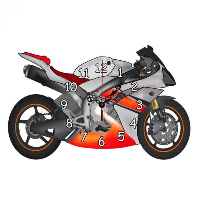 Ceas de perete, analog, formă de motocicletă, din lemn - 33x24cm 0