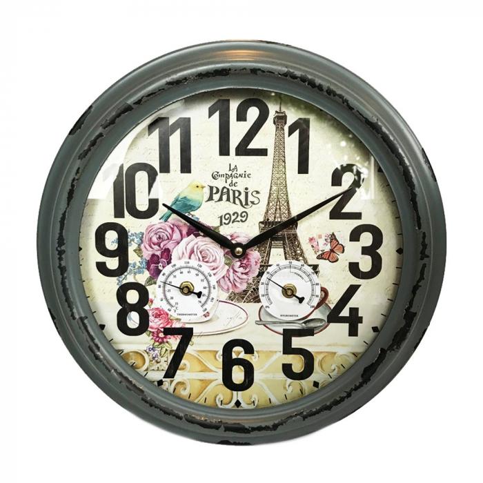 Ceas de perete, analog, rotund, din metal - 38cm 0