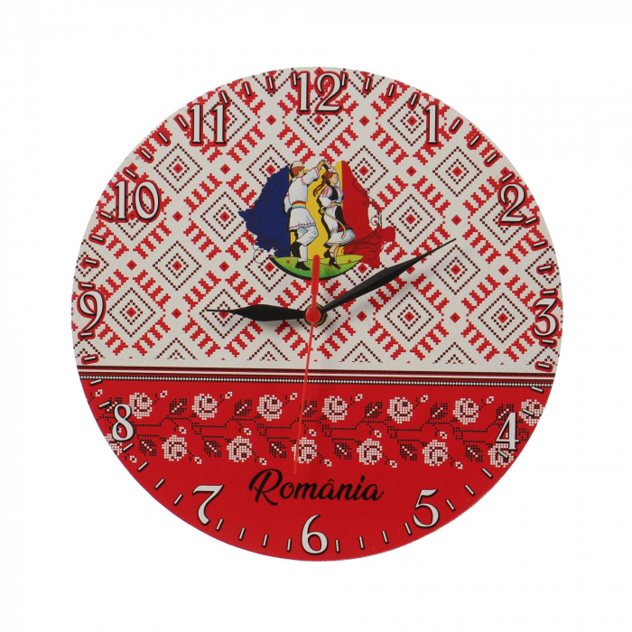 Ceas de perete, analog, rotund, lemn - 29cm [0]