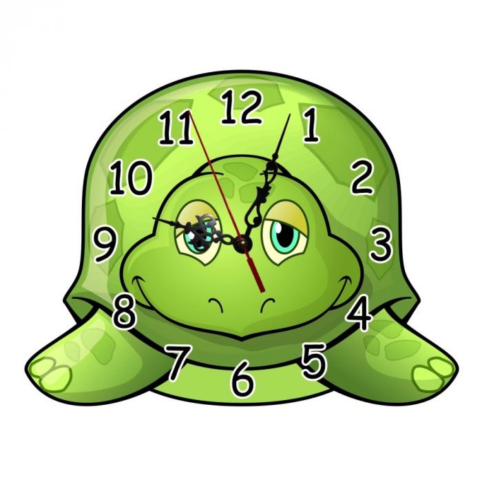 Ceas de perete, analog, din lemn, formă de broască țestoasă - 33x24cm [0]